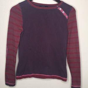 Boden Purple Elbow Patch Long Sleeve Top Sz8